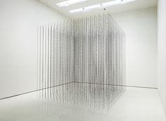"Mona Hatoum,  ""Impenetrable"" steel and nylon monofilament, 2009 - Guggenheim Museum"
