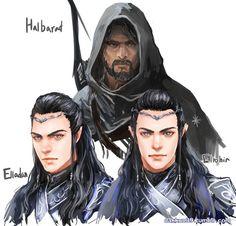 Halbard, Elladan and Elrohir