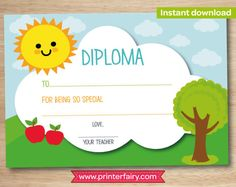 preschool diploma last day of preschool preschool graduation gift kindergarten diploma