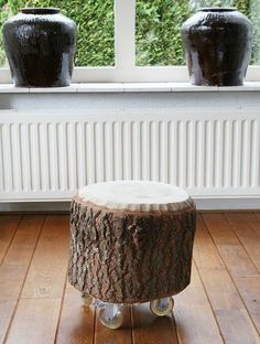 Bijzettafel van boomstronk