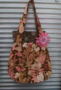 Adorable Double Strap Shoulder Bag with monkey and bird fabric with an inside pocket. $25.00, via Etsy.
