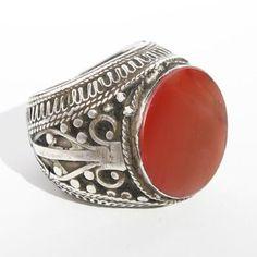 Uzbek Ring,   Uzbekistan.  A massive silver ring set with carnelian. Silver rings set with carnelian are universally worn by men across the Islamic world.