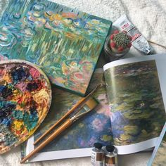 """xeptum: """"Art stuff and my Monet inspired painting I am so proud about. Kunstjournal Inspiration, Art Journal Inspiration, Art Inspo, Art Hoe Aesthetic, Aesthetic Pictures, Art Studios, Monet, Retro, Art Drawings"""