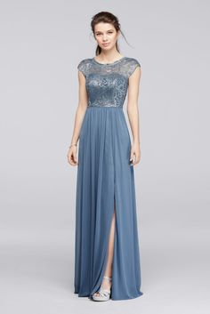 Long Metallic Bridesmaid Dress with Lace Bodice - Steel Blue Metallic, 22