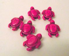 Pink  Turtles BeadsHot Neon Pink  Six Pieces by lyrisgems2supplies, $3.20