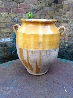 Yellow glazed French antique confit pot