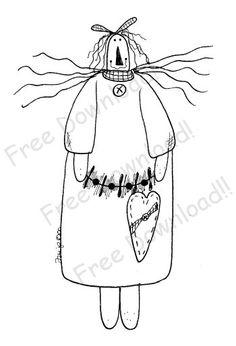 Free Primitive Raggedy Ann Patterns | Free Goods - Free Patterns - Raggedy Ann and Friends - Raggedy with ...