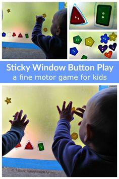 Toddler and baby games! Strengthen fine motor skills with this fun sticky window button game for kids