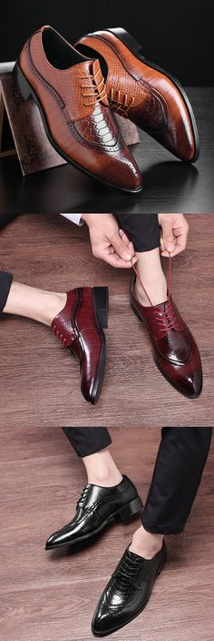 US$35.69 Men British Style Patent Leather Pure Color Pointed Toe Formal Shoes