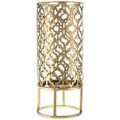 Gold Metal Quatrefoil Pillar Candle Holder