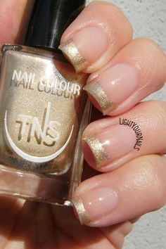 Gold French manicure nail art with TNS Cosmetics Atomic 79 @tnscosmetics