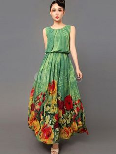 Gorgeous Green Floral Print Chiffon Women's Maxi Dress - Milanoo.com