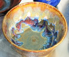Inside Oatmeal and Iron Lustre, overlapping, Outside Iron Celadon, Ancient Jasper on the rim (Angelika Prager)