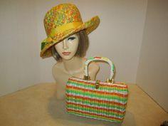 Vintage 60s Toby of London Straw fedora/ Handmade wicker fashion. #wicker #bag #hat pinned by wickerparadise.com