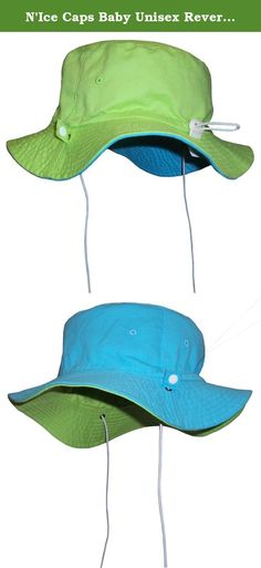 "N'Ice Caps Baby Unisex Reversible and Adjustable Cotton Twill Aussie Sun Hat (50cm (19.7"") 6-18mos, Neon Green/Neon Blue). Sun Caps by N'Ice Caps unisex baby reversible cotton twill Aussie style hat with adjustable draw cord in back to allow hat to fit 3 size ranges. Easy to adjust elastic shoe string tie draw cord with lock adjusts up and down to fit 3 size ranges within the recommended age group. Elastic shoe string ties are also adjustable. Great hat for sun protection. Easy to pack...."