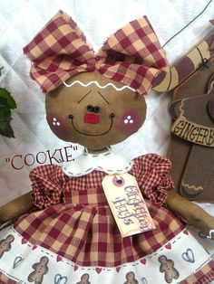 """Items similar to Primitive NEW Raggedy Gingerbread Doll """"COOKIE"""" in Apple Red and Tan Homespuns on Etsy Gingerbread Crafts, Gingerbread Decorations, Christmas Gingerbread, Primitive Christmas, Christmas Decorations, Christmas Sewing, Christmas Time, Christmas Crafts, Christmas Ornaments"""
