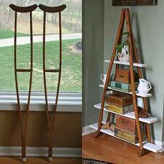 Creative shelves , using wooden crutches