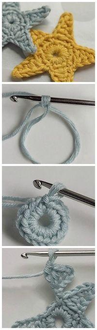 free crocheting diy: make cute christmas stars, decoration Crochet Gratis, Diy Crochet, Crochet Baby, Baby Knitting Patterns, Free Knitting, Crochet Stars, Crochet Motifs, Yarn Crafts, Crochet Edgings