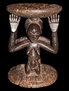 www.africaandbeyond.com. Hemba Stool - D.R. Congo - Authentic piece for collectors of African art.