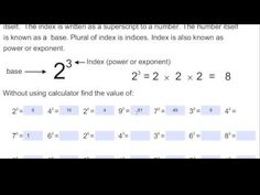 Another video for year 7 and 8 students - Index Notation Year 7, Place Values, Maths, Students, Number