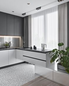 50 Creative Modern Kitchen Cabinet Design Ideas For Large Space Storage ~ Ideas for House Renovations Kitchen Room Design, Kitchen Cabinet Design, Kitchen Interior, Kitchen Decor, Kitchen Ideas, Home Interior, Kitchen Pantry Cabinets, Modern Kitchen Cabinets, Home Design
