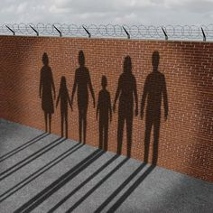 Immigration people on a border wall as a social issue about refugees or illegal immigrants crisis with the cast shadow of a group of migrating women men and children. Across The Border, What Really Happened, Social Issues, Animal Print Rug, New Books, It Cast, Waves, Shit Happens, Abstract
