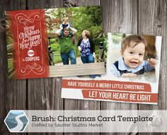 Christmas Card Template Brush - 5x7 Photoshop Template by SaunterStudios, $8.00