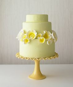 Yellow wedding cake.