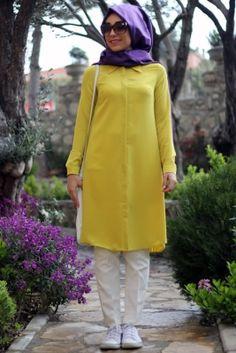 Mevra Oksit Sarısı Pili Tesettür Tunik