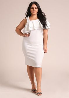 One Shoulder Ruffle Bodycon Dress 39 95 Plus Size Dresses Party