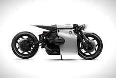 Created by Barbara Custom Motorcycles, this series of bike concepts depicts the future for bike brands Husqvarna, Triumph, Yamaha and BMW. The France-based design preparation shop is directed Bmw Cafe Racer, Cafe Racer Build, Cafe Racers, Futuristic Motorcycle, Motorcycle Style, Motorcycle Accessories, Motorcycle Quotes, Moto Scrambler, Bmw Boxer