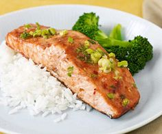 Spicy Hoisin Salmon (really good, btw) A mixture of several Asian ingredients add spice to this roasted salmon fillet main dish that can be prepared from start to finish in less than 30 minutes. Easy Salmon Recipes, Fish Recipes, Seafood Recipes, Cooking Recipes, Healthy Recipes, Healthy Foods, Seafood Dishes, Fish And Seafood, Asparagus Casserole