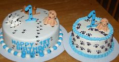 we are putting these scattered paw prints on L's 1 cake