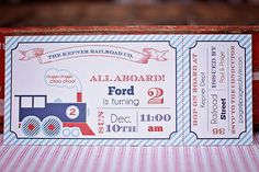 Printable Train Ticket Birthday Invitation, DIY