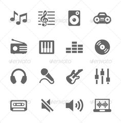 by davooda on GraphicRiver. Simple Icon Set Related to Music. Self Made Tattoo, Headphones Tattoo, Icon Tattoo, School Icon, Simple Icon, Best Icons, Bullet Journal Art, Religious Icons, Social Media Icons