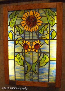 Bumble Bee Amp Sunflower Leaded Stained Glass Window Panel
