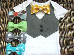 Baby Boy Clothes  Bow Tie Onesie  Grey Vest Onesie by SewLovedBaby