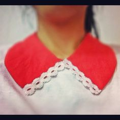 red with white lace collar diy