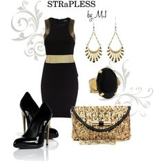 """""""Black & Gold"""" by strapless on Polyvore"""