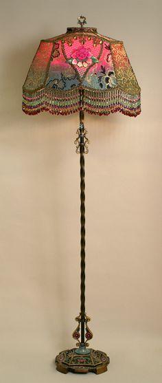 Edwardian Style Lampshade on Antique Lamp Base