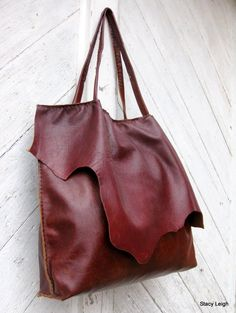 Slouchy Leather Brick Patina Tote Bag with Rustic Character by Stacy Leigh Ready to Ship. $285.00, via Etsy.