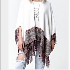 Pullover Fringe Poncho By LA Hearts Pullover fringe LA hearts poncho. One size fits all. Worn only once. Great over leggings and booties. Perfect condition. LA Hearts Sweaters Shrugs & Ponchos