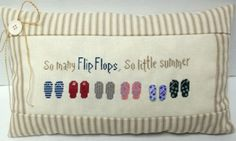 Flip Flop Summer Cross Stitched Accent Pillow by luvinstitchin4u, $25.99