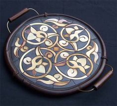 ceramic tray with pretty lotus motifs