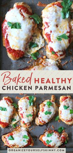 This baked chicken parmesan recipe starts with tender chicken cutlets dredged in tasty breadcrumbs, smothered in sauce and cheese, and baked to perfection. dinner recipes for family healthy Baked Chicken Parmesan {With Video!} - Organize Yourself Skinny Best Baked Chicken Parmesan Recipe, Healthy Chicken Parmesan, Chicken Parmesan Recipe No Breadcrumbs, Baked Chicken Meals, Chicken Parmesean, Chicken Cutlet Recipes, Chicken Marinara, Chicken Meal Prep, Thai Chicken