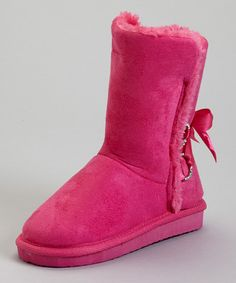 Limited great Christmas Gift for girls only $9.99 on sale    Cozy and cute as can be, these boots are a must for the chilly seasons. A satin bow adorns the sides, while a faux fur lining softens every step.1'' heel with 0.5'' platform7'' shaft12'' circumferenceMicrosuede upperEVA soleImported
