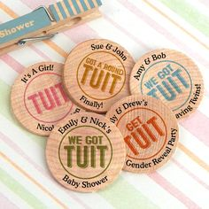 Find Got A Round TUIT Personalized Wooden Nickels Colors Options) with quantity discounts here, along with other wedding favors and shower gifts. Corporate Gifts, Corporate Events, Old Bar, Baby Shower Gender Reveal, Wedding Party Favors, Bar Drinks, Creative Play, Baby Shower Parties, Shower Gifts
