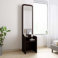 BLUEWUD Freddie Wall Hanging Dressing Table/Mirror with Multifunctional Shelves, Bangle Holder & Hanging Hooks (Wenge) Furniture Dressing Table, Dressing Table Design, Dressing Table With Stool, Dressing Table Mirror, Dressing Tables, Bedroom Furniture Design, Bed Furniture, Furniture Vanity, Office Furniture