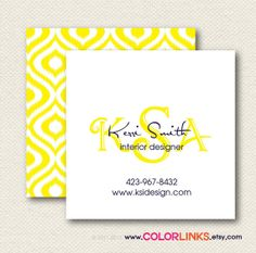 Ikat Business Cards modern square cards