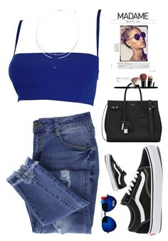 """""""Electric Blue"""" by melissa999 ❤ liked on Polyvore featuring Versace, Essie, Vans, Yves Saint Laurent, Bobbi Brown Cosmetics and Swarovski"""